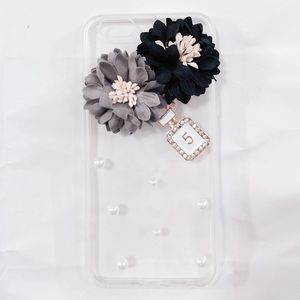 iPhone 6 Plus Black Gray Floral Pearls Clear Case